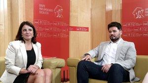 Adriana Lastra y Gabriel Rufián, el pasado julio en el Congreso de los Diputados.