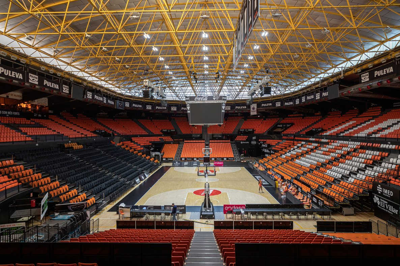 El pabellón del Valencia Basket sin público.