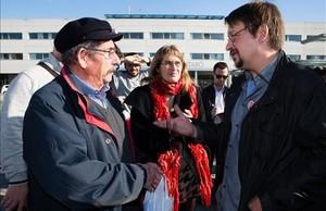 Xavier Domènech presenta sus medidas en materia de Sanidad frente al hospital de Mataró,