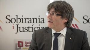 Carles Puigdemont, durante su intervención en el coloquio organizado por Sobirania i Justícia.
