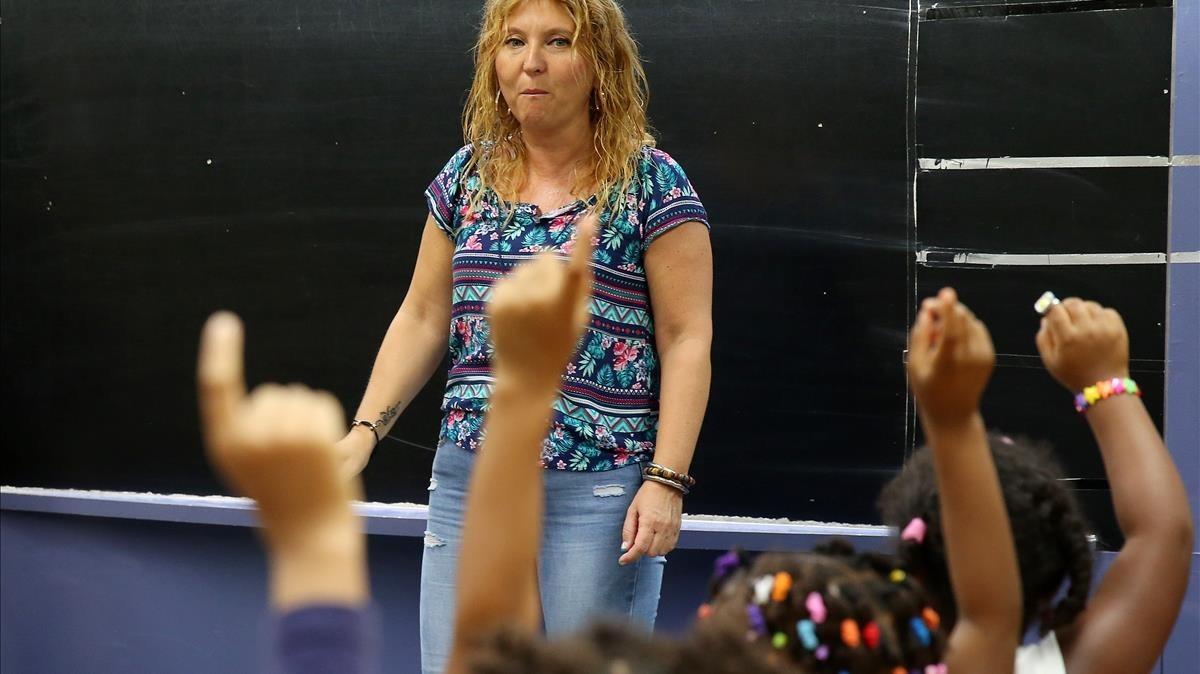 Primer día de clase en la escuelaWagner de Santa Coloma de Gramenet, el pasado septiembre.