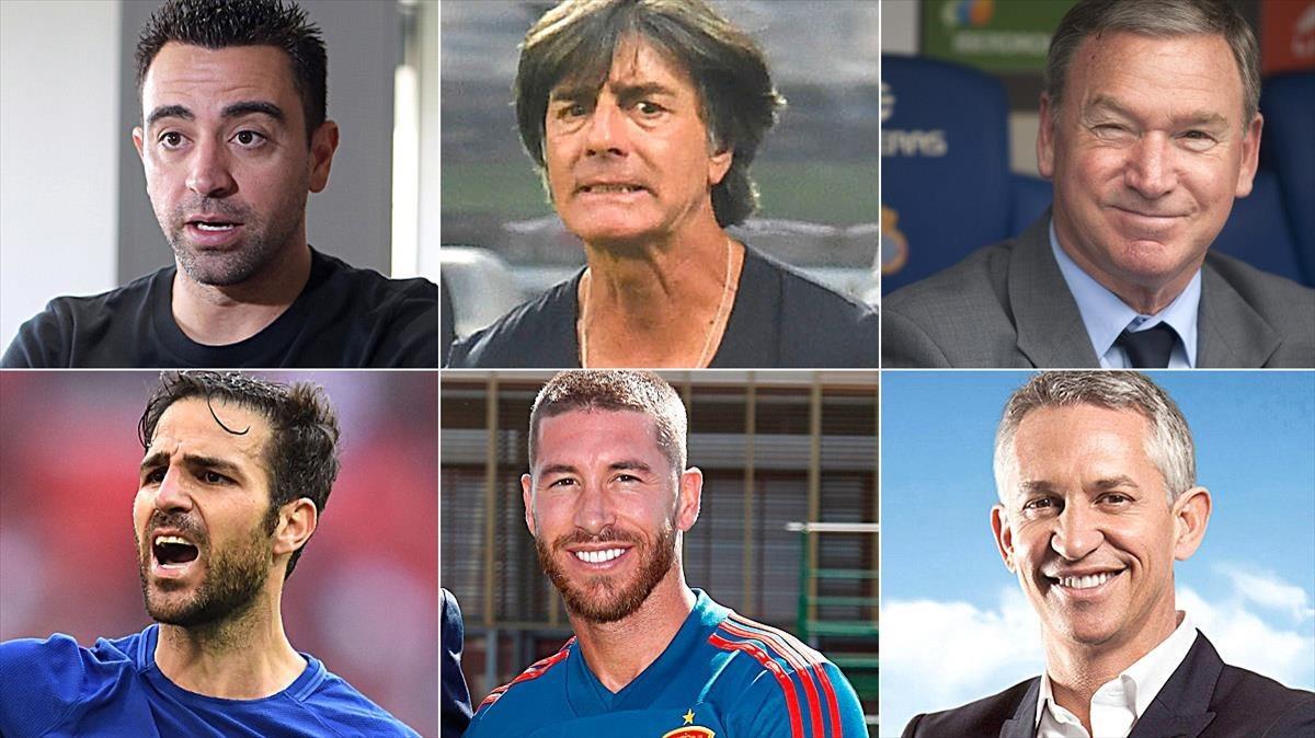 Hernàndez, Löw, Clemente, Cesc, Ramos y Lineker.
