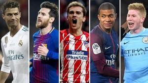 Cristiano, Messi, Griezmann, Mbappée y De Bruyne.