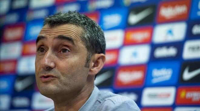 Ernesto Valverde, durante la conferencia de prensa.