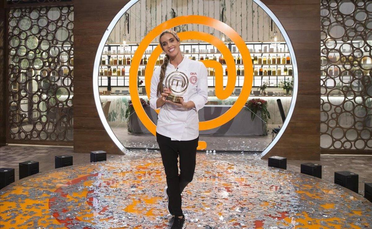 Ona Carbonell, tras ganar el concurso gastronómico de TVE-1 'Masterchef Celebrity'.