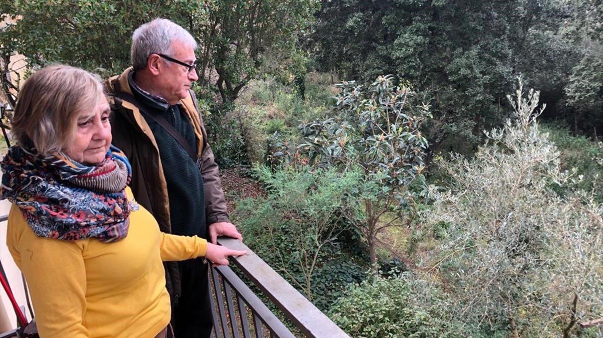 Satur y Antonio miran por el balcón el bosque desdeel que se acercaron los ladrones.