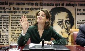 Teresa Ribera, este martes en la Comisión de Transición Ecológica del Senado.