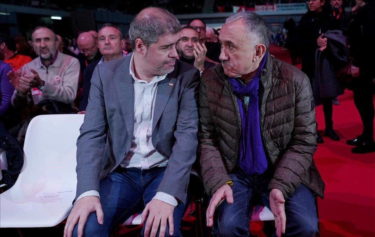 Los secretarios geneales de CCOO, Unai Sordo, y de UGT, Pepe Álvarez.