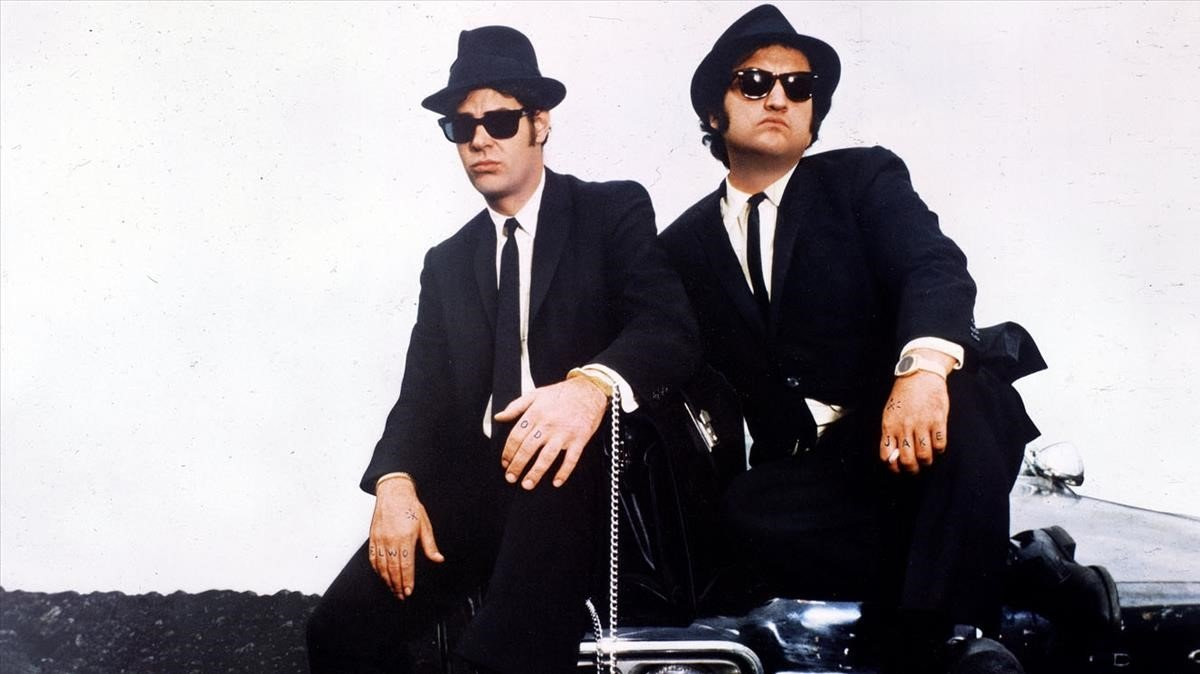 Aykroyd y Belushi como 'The Blues Brothers'.