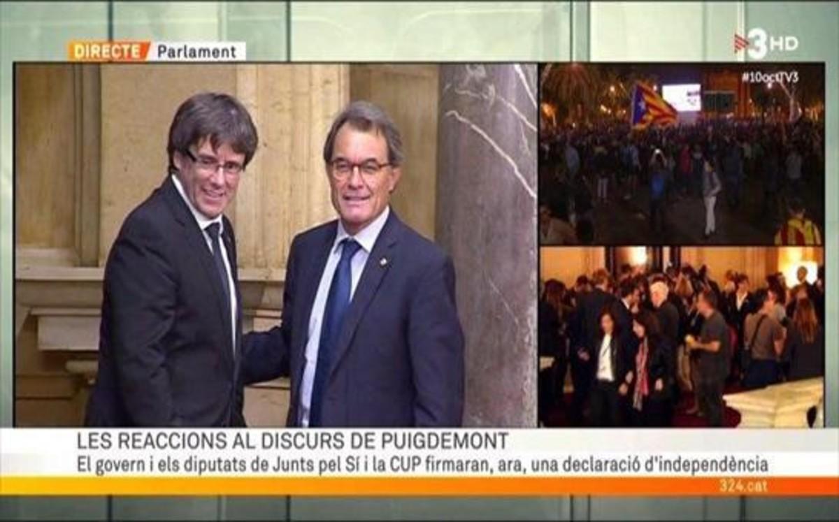 Artur Mas y Carles Puigdemont (TV-3).