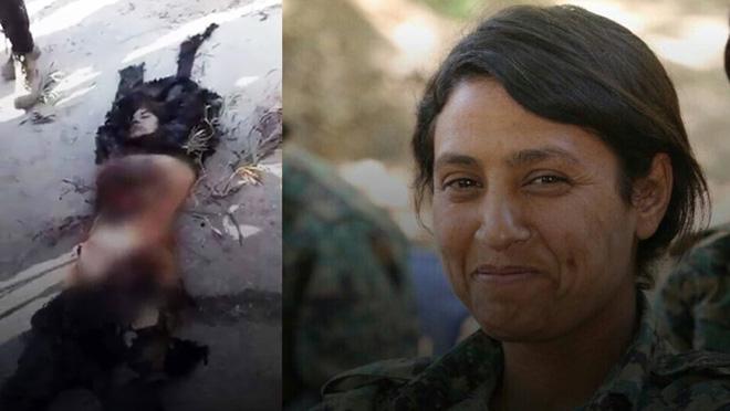 La combatent Amina Omar coneguda com a Barin Kobane, mutilada per les forces turcosirianes.