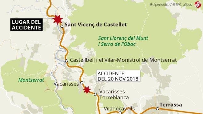 Mapa de localización del accidente de tren entre Manresa y Sant VIcenç de Castellet