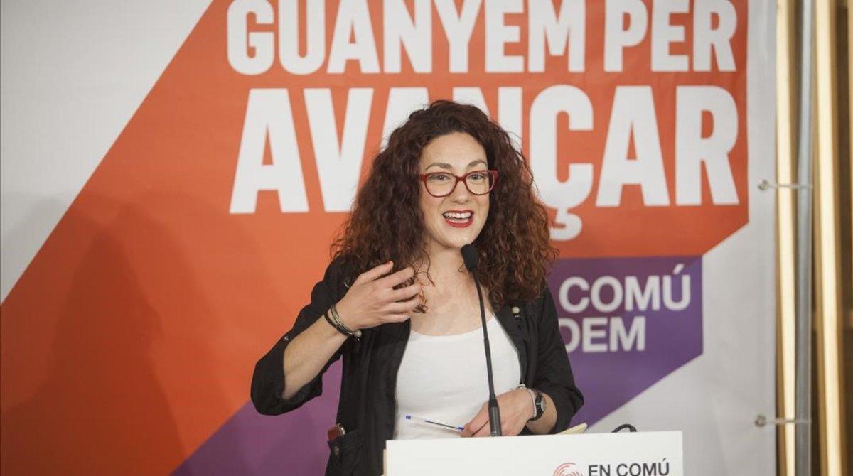 Aina Vidal, el pasado abril, durante la campaña electoral de las generales.
