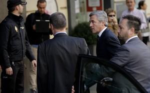 Ángel Acebes, a su llegada a la Audiencia Nacional.