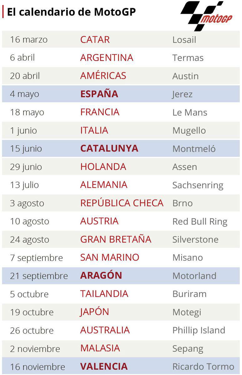 Moto Gp Calendario.Calendario De Motogp Del Mundial 2018