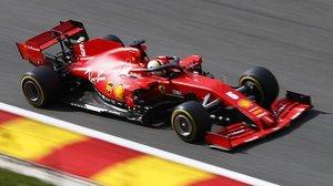 El campeonísimo alemán Sebastian Vettel se arrastró con su Ferrari en Bélgica.