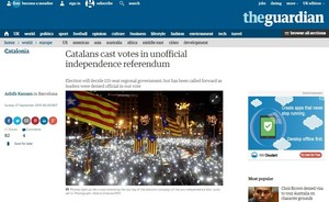 Captura de la web de The Guardian, donde informa de las elecciones catalanas.