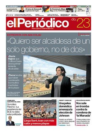 La portada d'EL PERIÓDICO del 23 de juny del 2019