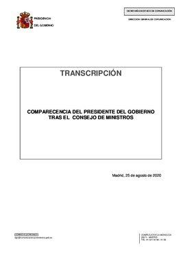 Comparecencia íntegra de Pedro Sánchez tras el Consejo de Ministros del 25 de agosto de 2020