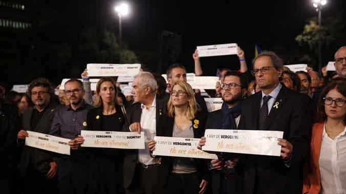Concentración por los Jordis, cumplen un año en prisión preventiva