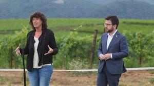 La consellera de Agricultura, Teresa Jordà, y el vicepresident, Pere Aragonès, durante la presentación del plan de 3.000 millones de euros para impulsar la bioeconomía