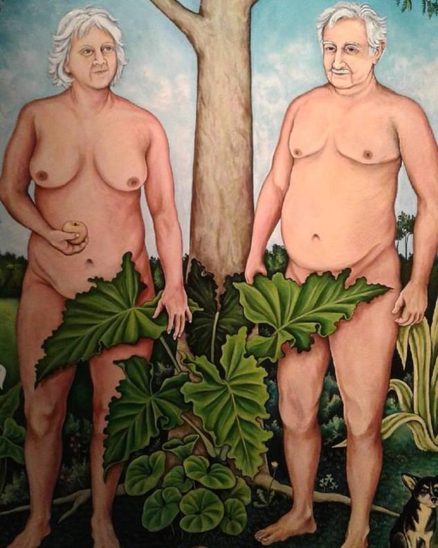La pintura de Mújica y su esposa desnudos.