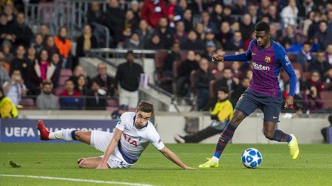 Dembélé hace el recorte previo para acabar su monumental jugada con un gran gol al Tottenham.