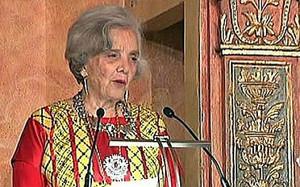 Elena Poniatowska, durante su discurso en la Univesidad de Alcalá de Henares.
