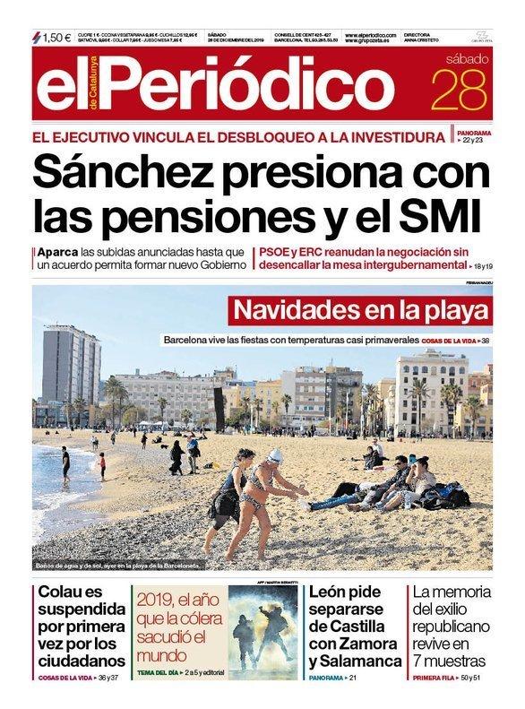 Prensa de hoy: Las portadas de los periódicos del sábado 28 de diciembre del 2019