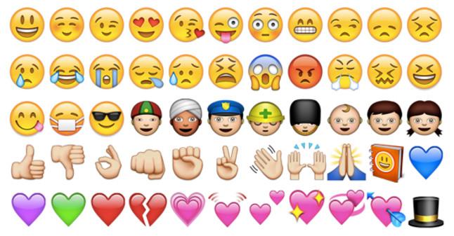 Algunos de emoticonos que se utilizan en WhatsApp.