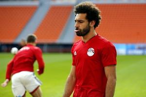 Mohamed Salah, el jueves, en el entrenamiento de Egipto.
