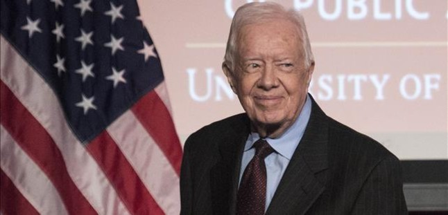 El expresidente de EEUU, Jimmy Carter, en un acto en Washington, este lunes.