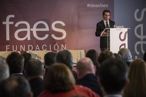 El expresidente JoséMaría Aznar en un reciente acto de la fundación que preside,FAES