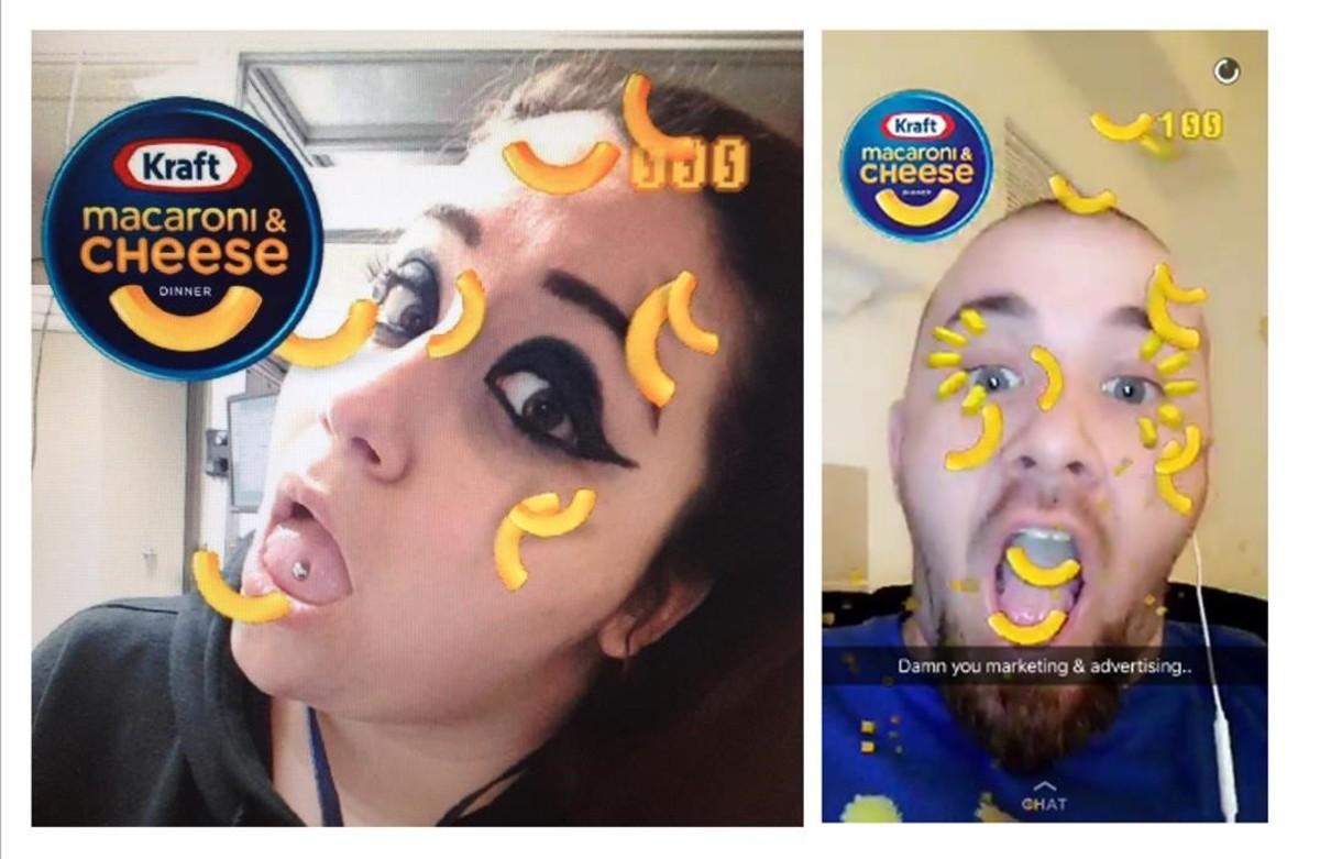 Filtro con un anuncio de un aperitivo sobre usuarios de Snapchat.