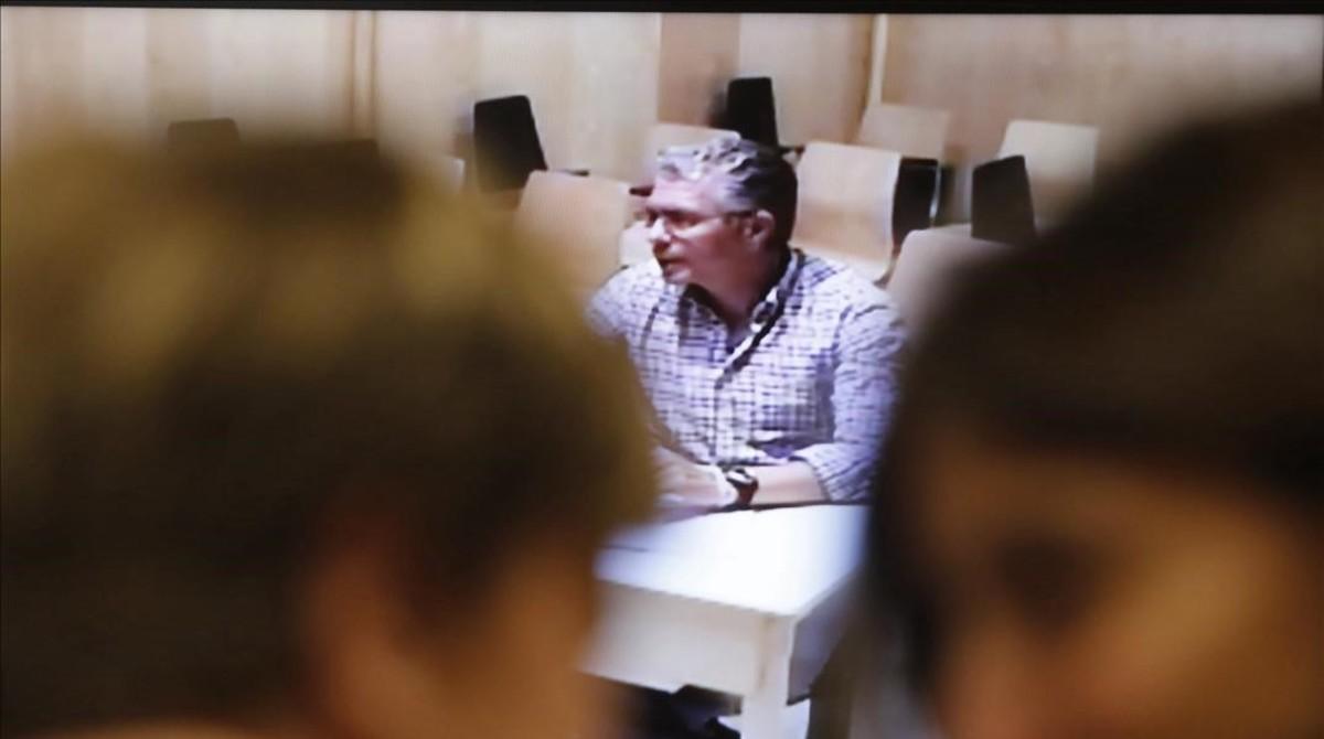 Francisco Granados, este viernes, durante su videoconferencia ante la Asamblea de Madrid.