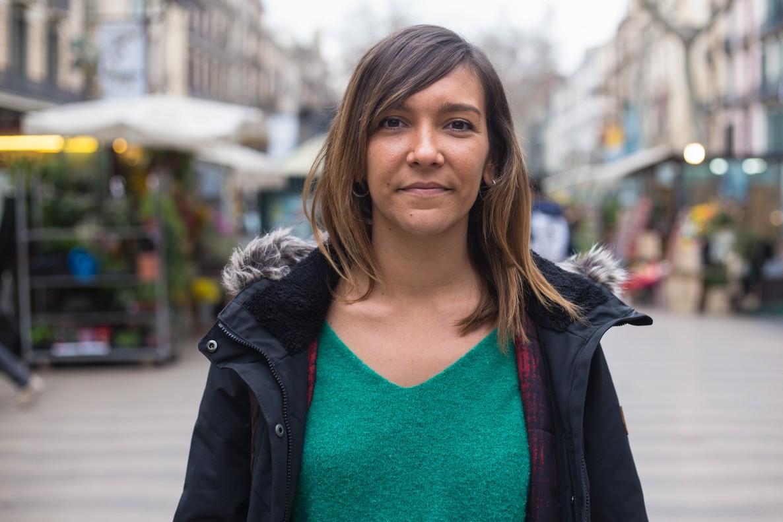 Esperanza Escribano, en la Rambla de Barcelona.