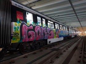 Un tren lleno de grafitis.