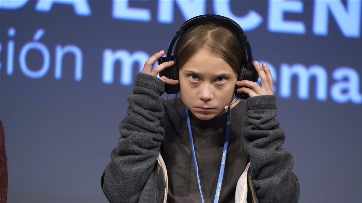 Greta Thunberg comparece en rueda de prensa en Madrid.