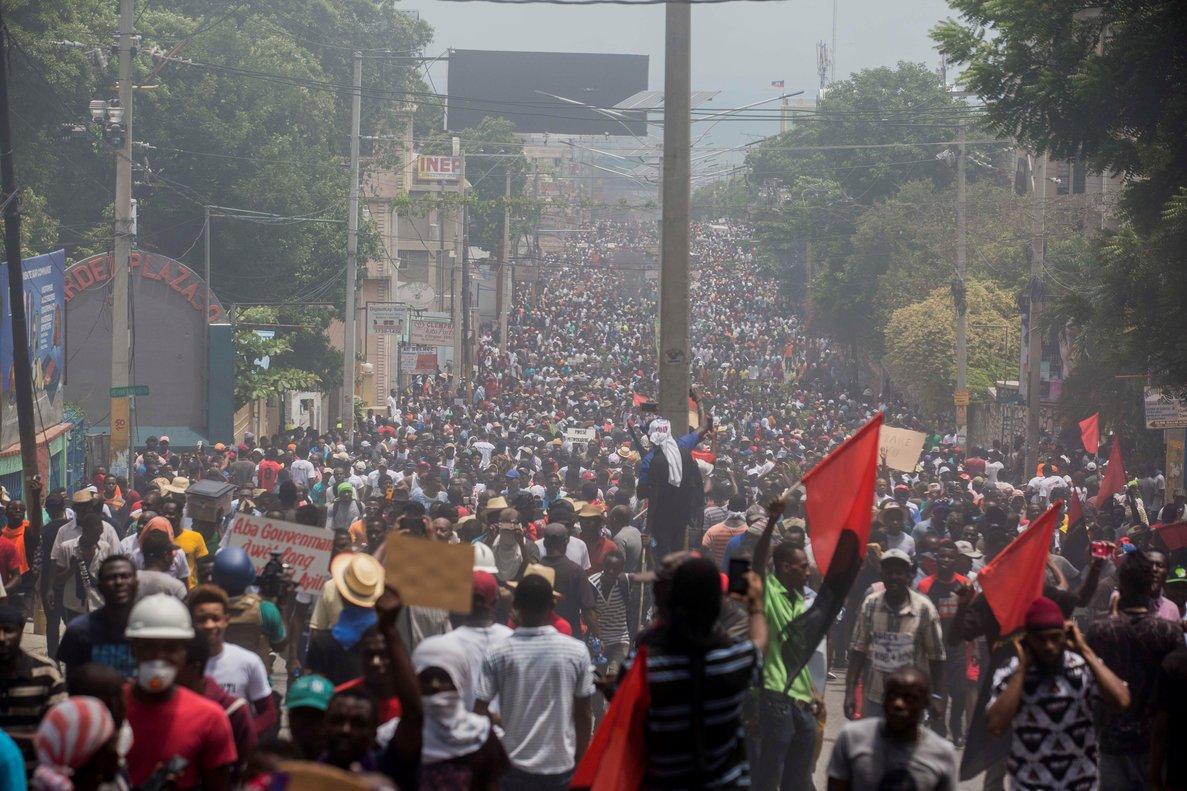 Manifestacion para exigir la dimision del presidente haitiano,Jovenel Moise.