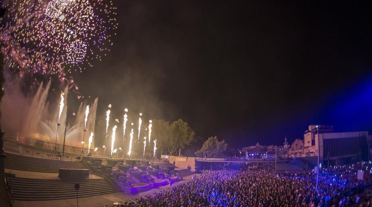 El piromusical de las fiestas de la Mercè del año pasado, en Montjuïc.