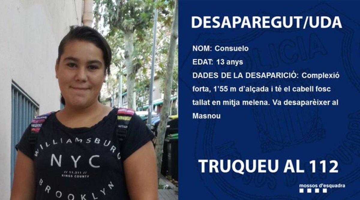 Imagen de la joven de 13 años que ha desaparecido en El Masnou.