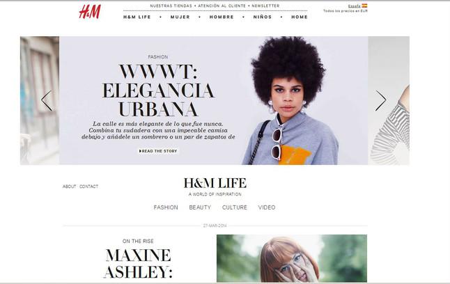 Imagen de la web de H&M, donde actualmente no permite la compra de sus producto.