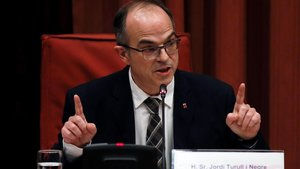 Jordi Turull declarando ante la comisión de investigación de la cámara catalana sobre la aplicación del artículo 155 de la Constitución