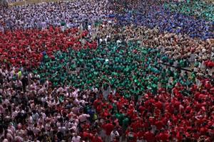Imagen de la jornada en el Concurso de Castells de Tarragona.