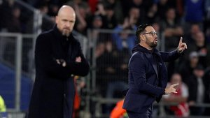 Jose Bordalás, técnico del Getafe, en el partido ante el Ajax.