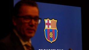 Josep Vives, el portavoz de la directiva del Barça, en una comparecencia ante la prensa.