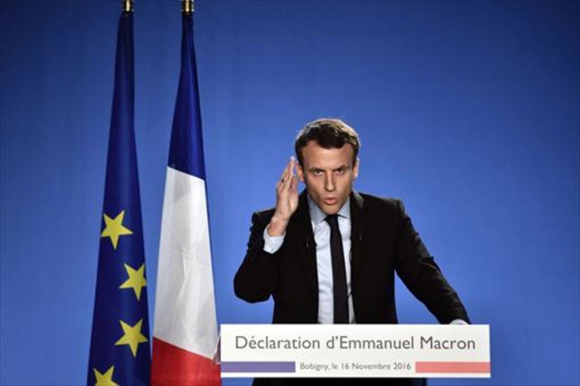 Emmanuel Macron, en noviembre pasado, cuando anunciósu candidatura a las elecciones presidenciales.