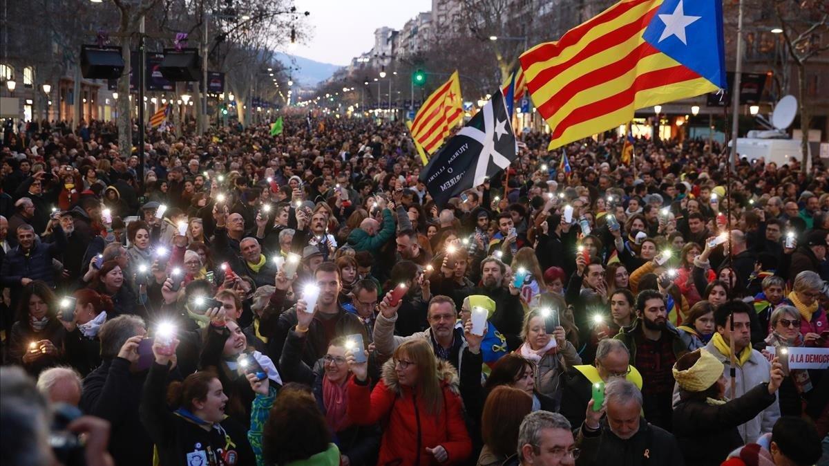 Manifestación contra el juicio del 'procés' en Barcelona.