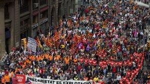 Una manifestación del Primero de Mayo en Barcelona.