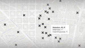 El mapa de la segunda macrooperación en el Raval de Barcelona con 50 detenidos de 35 narcopisos